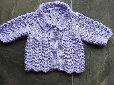 BN Baby Girl's Hand Knitted Lilac Lacy Cardigan Size 000