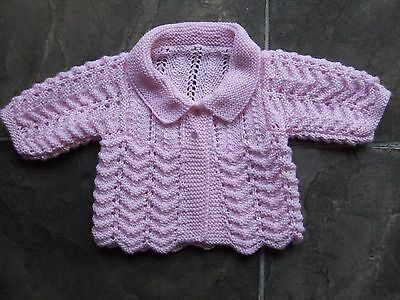 BN Baby Girl's Hand Knitted Pink Lacy Cardigan Size 0000