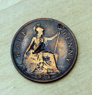 1934 Great Britain Half Penny