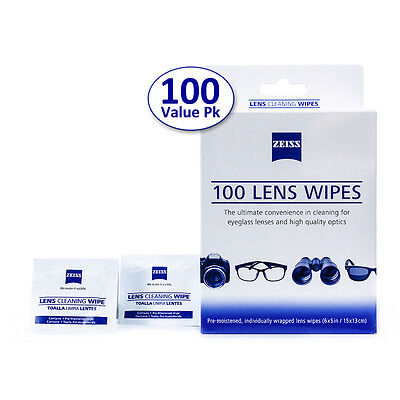 ZEISS Lens Cleaning Wipes 100CT LED Eye Glasses Computer Optical Lens Cleaner