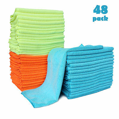 48 Pack Microfiber Cleaning Cloth Anti-Scratch Rag Towel Car Detailing Polishing