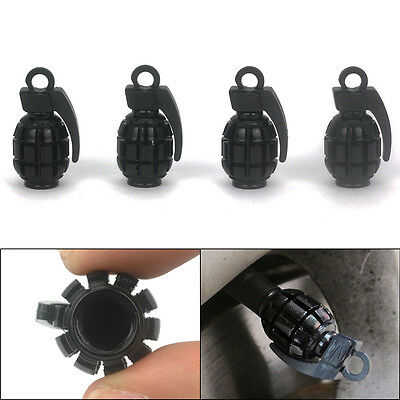 4X Black Grenade Bomb Exterior Wheel Tyre Tire Valve Stems Air Dust Cover Caps