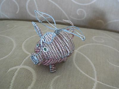 Glass Beads and Wire Pink Flying Pig