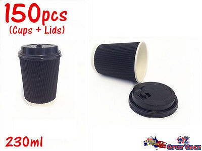 150pcs Coffee Cups w Lids Disposable Paper Cups Take Away Cups 230ml 20-7780x10