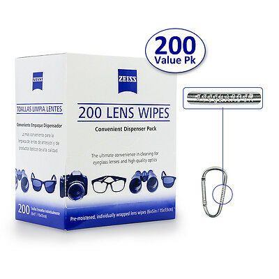Zeiss Pre-Moistened Lens Wipes 200  LED Camera Screen Optical Cleaning Cloth USA