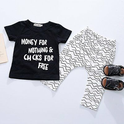 2pcs Toddler Infant Baby Boy Girl Clothes T-shirt +Pants Outfits Set Size 0-24 M