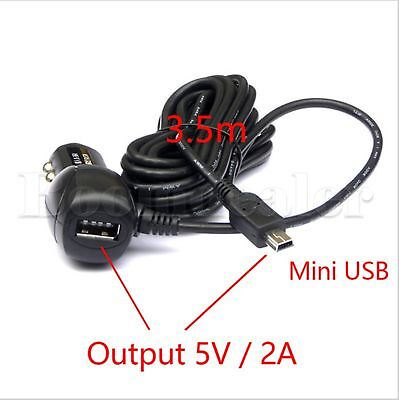 3.5m In Car Charger Adapter Mini USB Cabel For Garmin Nuvi Nav GPS Mobile Phones