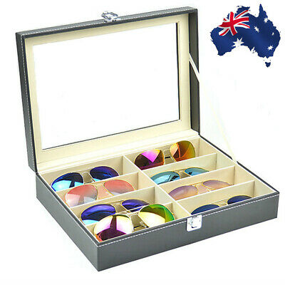 6+3 Grid Watch Sunglass Eyeglasses Display Box Case Storage Organizer PU Leather