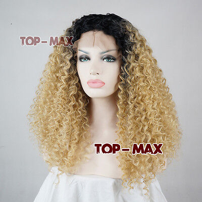 18 Inches Black Mixed Light Blonde Curly Heat Resistant Women Lace Front Wig TOP