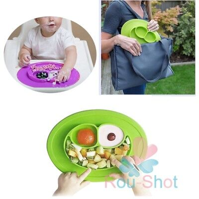 One-piece Silicone Mat Baby Kids Suction Table Food Tray Placemat plate UK SHIP