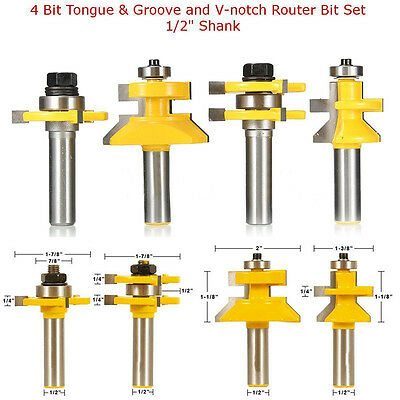"4Pcs 1/2"" Shank Tongue & Groove and V-notch Router Bit Set Woodworking"