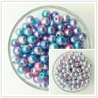 NEW 4/6/8/10/12MM Colour Acrylic Round Pearl Spacer Loose Beads Jewelry Making U