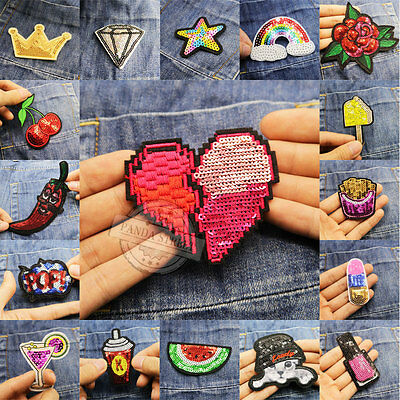 Embroidery Sew On Iron On Patch Badge Clothes Bag Dress Fabric Applique Sequins