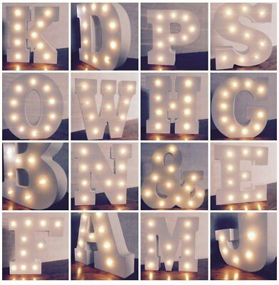 Wooden LED Night Light Festival Lights Party Lamp Wall Hanging 26 Letters ID