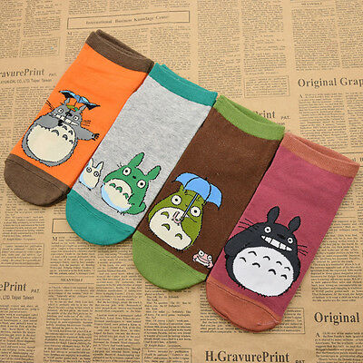 1 Pair Women Anime Totoro Pattern Cotton Warm Short Socks Cute Japanese Casual