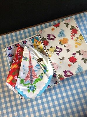 ladies vintage handkerchiefs Kitsch Retro Japanese Boxed Set Of Four