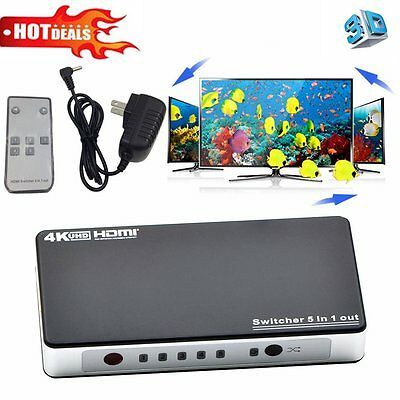 4K*2K 5 in 1 out HDMI Hub Splitter Switcher Adapter 1080P 3D Remote Control ID
