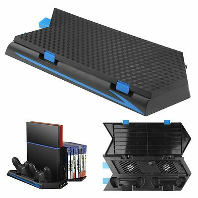 Cooling Stand with 2 Fans + Two Controllers Charging Station for PS4 Accessory