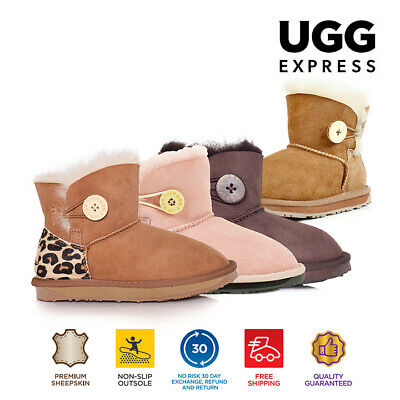 Kids UGG Boots - Child Mini Button,Premium Australian Sheepskin, Water Resistant