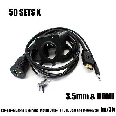 50sets 3.5mm AUX HDMI Dash Flush Panel Mount Cable For Car Boat Motorcycle 100cm