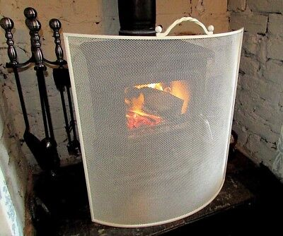 New Cream Curved Fireplace  Fire Screen For A Wood Burning Stove Or Open Fire