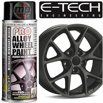 ETech PRO Alloy Wheel Refurbish & Customise Spray Paint -Midnight Metallic Black