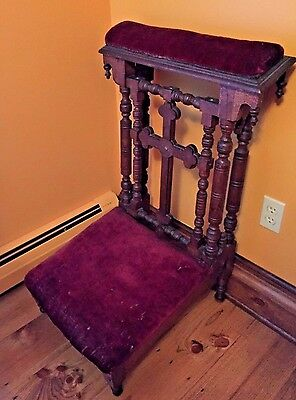 Antique Oak Church Kneeler Prayer Bench (Prie Dieu) Spain 1800s