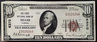 1929 Ten Dollars Nat'l Currency from The First National Bank of Miami, Florida!