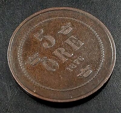 1878 5 Ore bronze coin from Sweden! Nice condition!