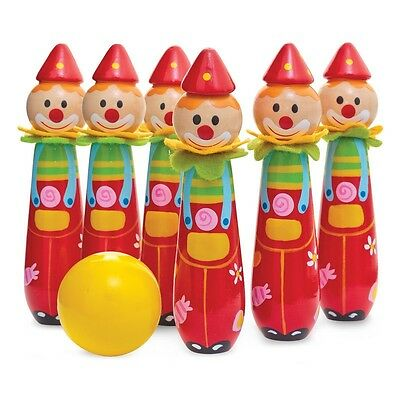 BOWLING CLOWNS - COLOURFUL FUN BALL AND SKITTLE SET KIDS GAME TOY dd
