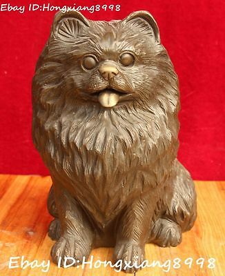 """9"""" Old Chinese Ancient Bronze Fengshui 12 Zodiac Year Dog Dogs Animal Statue"""