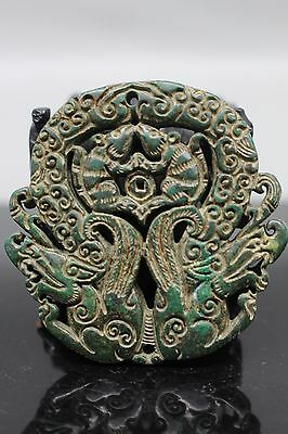 Fantastic Chinese fine old jade manual carved - dragon and mouse Statues