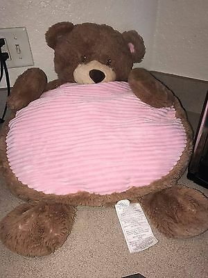 Soft Cute Kellytoy Baby Mats Pink and brown teddy bear lay on me mat