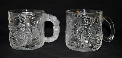 Pair of 1995 McDonald's Collectible Batman Forever Cups Glass Mugs