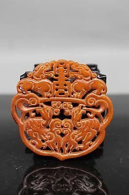 Chinese antique collection old jade Manual carving God beast  Dragons Statues