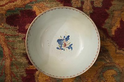 Antique White and Blue Floral Pattern Bowl