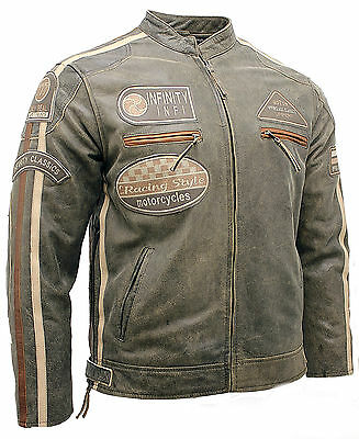 Men's Real Soft Racing Brown Nappa Leather Biker Jacket