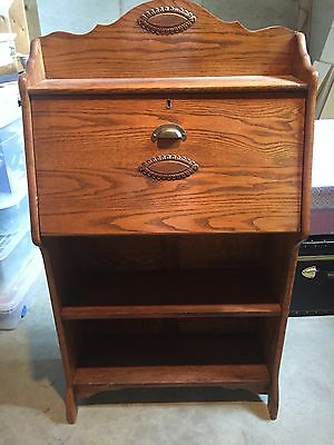 Antique Oak Ladies Drop Front Desk Secretary With Bookcase