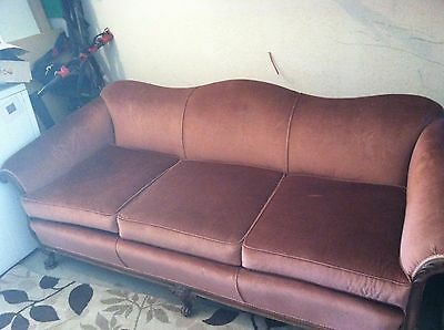 1940's Antique Sofa Chippendale Style Camelback