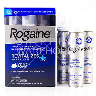 Rogaine Foam For Men 3 Month Supply 5% Minoxidil Hair Loss Regrowth Treatment