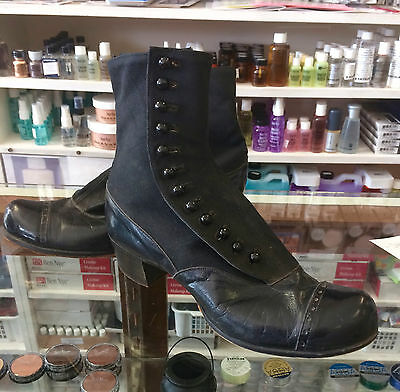 Antique Edwardian or Victorian Era Black Leather and Canvas Button Up Boots