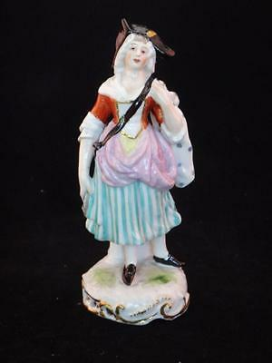 Antique French Porcelain Figurine Woman w Tri-corner Hat Samson of Paris France