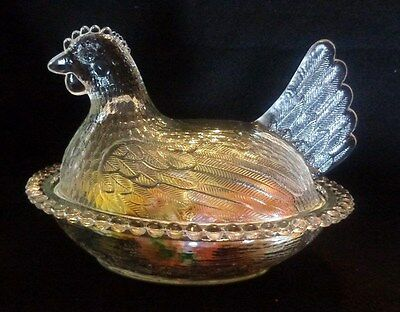 Vintage Chicken Nesting Glass Bowl With Hand Painted Real/porcelain Eggs