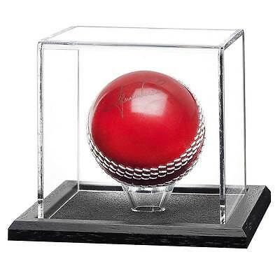 Acrylic Cricket Ball Display Case with a Wooden Base
