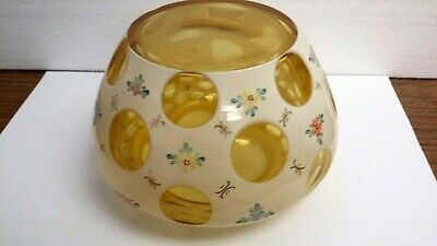 Gold Crystal Cased With Off White & Hand Painted W/flowers Cut To Gold 1000 Eye
