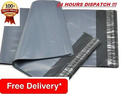 "100 BAGS 17""X24""430MM x 610MM STRONG GREY MAILING SELF SEAL POSTAL POSTAGE POLY"
