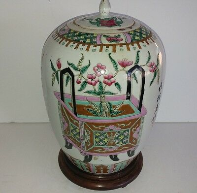 Beautifully hand-painted antique porcelain urn, jar,    certificate identity