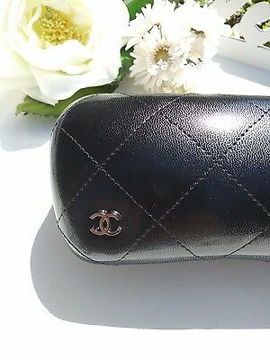 CHANEL Sunglass Eyeglass Case, NEW Never Used, Black Quilted Leather, Italy