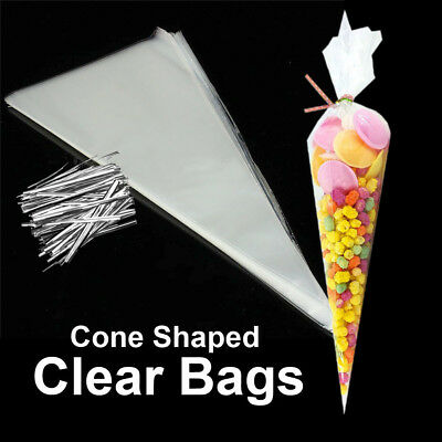 100~400 Clear Cone Shaped Cellophane Bags Sweet Candy Party Favor Gift Bags
