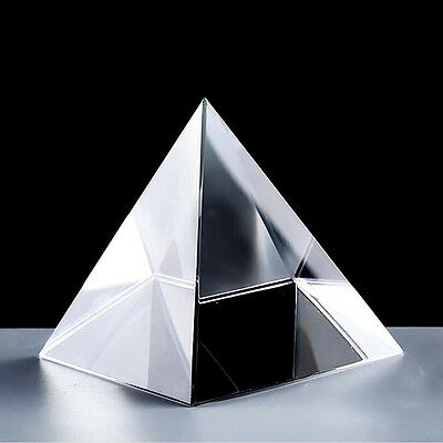 Quartz Crystal Glass Pyramid Paperweight Crafts Natural Stones Minerals Decor